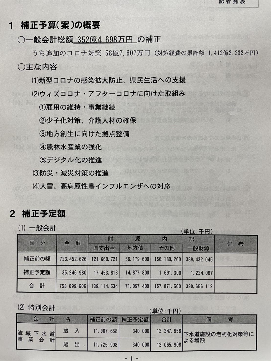 令和2年度2月補正予算(案)